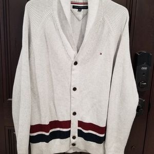 Tommy Hilfiger Gray Cable Knit Cardigan Men Sz 2XL